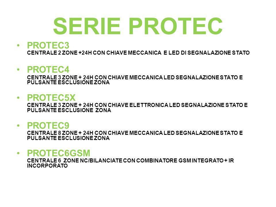 SERIE PROTEC PROTEC3 CENTRALE 2 ZONE +24H CON CHIAVE MECCANICA E LED DI SEGNALAZIONE STATO PROTEC4 CENTRALE 3 ZONE + 24H CON CHIAVE MECCANICA LED SEGN