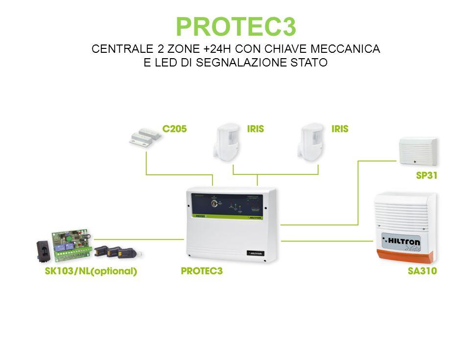 PROTEC3 CENTRALE 2 ZONE +24H CON CHIAVE MECCANICA E LED DI SEGNALAZIONE STATO