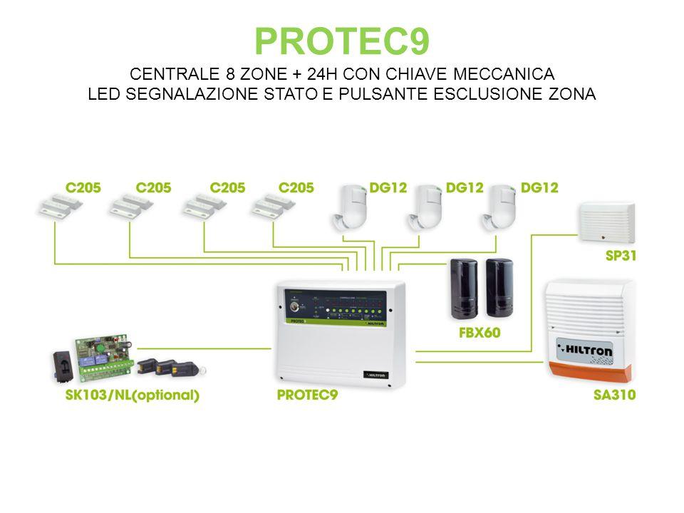 PROTEC9 CENTRALE 8 ZONE + 24H CON CHIAVE MECCANICA LED SEGNALAZIONE STATO E PULSANTE ESCLUSIONE ZONA
