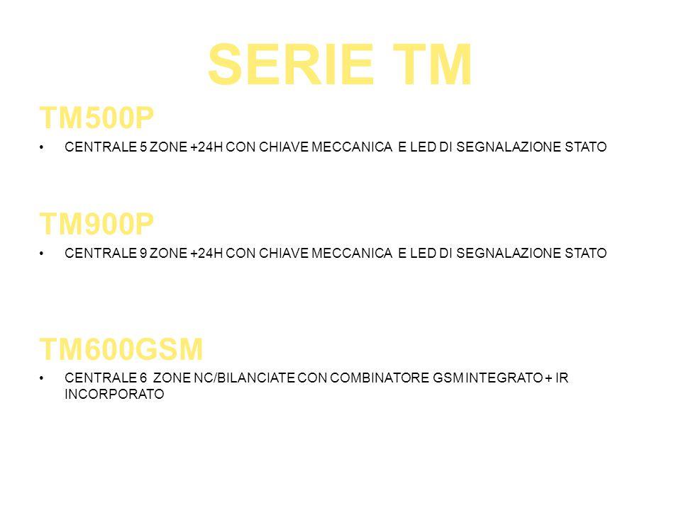 SERIE TM TM500P CENTRALE 5 ZONE +24H CON CHIAVE MECCANICA E LED DI SEGNALAZIONE STATO TM900P CENTRALE 9 ZONE +24H CON CHIAVE MECCANICA E LED DI SEGNAL