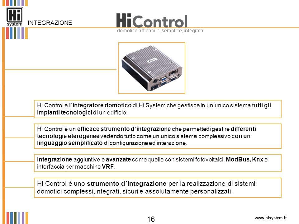 www.hisystem.it 16 Integrazione aggiuntive e avanzate come quelle con sistemi fotovoltaici, ModBus, Knx e interfaccia per macchine VRF. Hi Control è u
