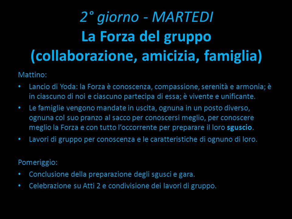 2° giorno - MARTEDI La Forza del gruppo (collaborazione, amicizia, famiglia) Mattino: Lancio di Yoda: la Forza è conoscenza, compassione, serenità e armonia; è in ciascuno di noi e ciascuno partecipa di essa; è vivente e unificante.
