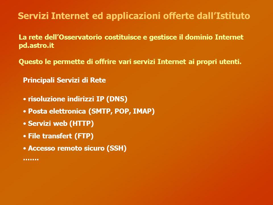 Servizi Internet ed applicazioni offerte dall'Istituto La rete dell'Osservatorio costituisce e gestisce il dominio Internet pd.astro.it Questo le perm
