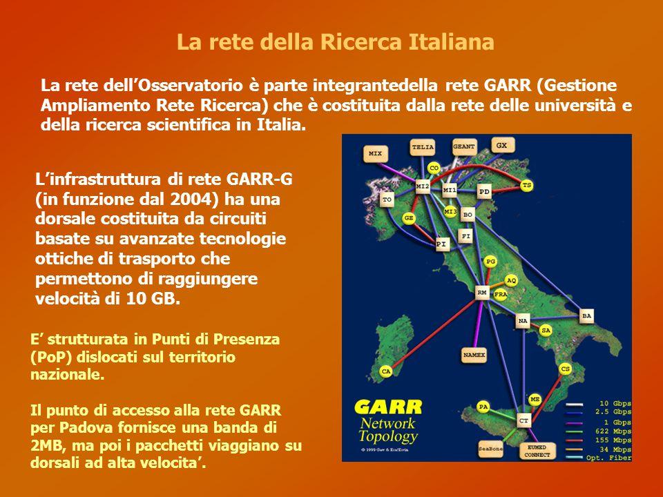 La rete della ricerca europea e mondiale La rete GARR e' connessa alle altri reti per la ricerca europea e mondiali con dorsali dedicate oltre che con la rete internet in generale APAN MSI-NCF RENATER GARR NorduNET DFN/WIN
