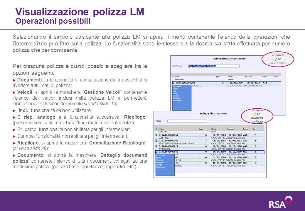 Visualizzazione polizza LM Operazioni possibili Selezionando il simbolo adiacente alla polizza LM si aprirà il menù contenente l'elenco delle operazio
