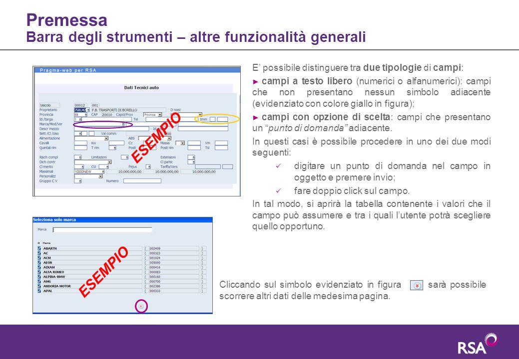 Premessa Barra degli strumenti – altre funzionalità generali Cliccando sul simbolo evidenziato in figura sarà possibile scorrere altri dati delle mede