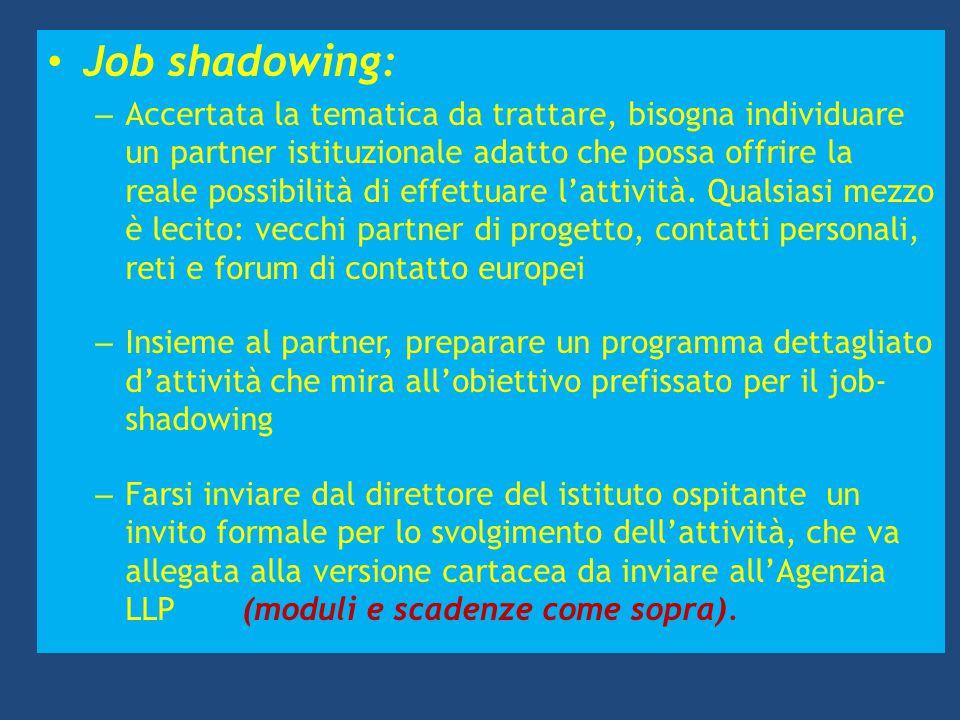 Job shadowing: – Accertata la tematica da trattare, bisogna individuare un partner istituzionale adatto che possa offrire la reale possibilità di effe