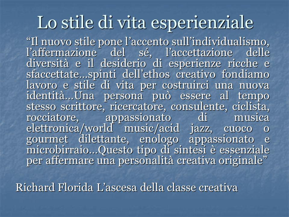 """Lo stile di vita esperienziale """"Il nuovo stile pone l'accento sull'individualismo, l'affermazione del sé, l'accettazione delle diversità e il desideri"""