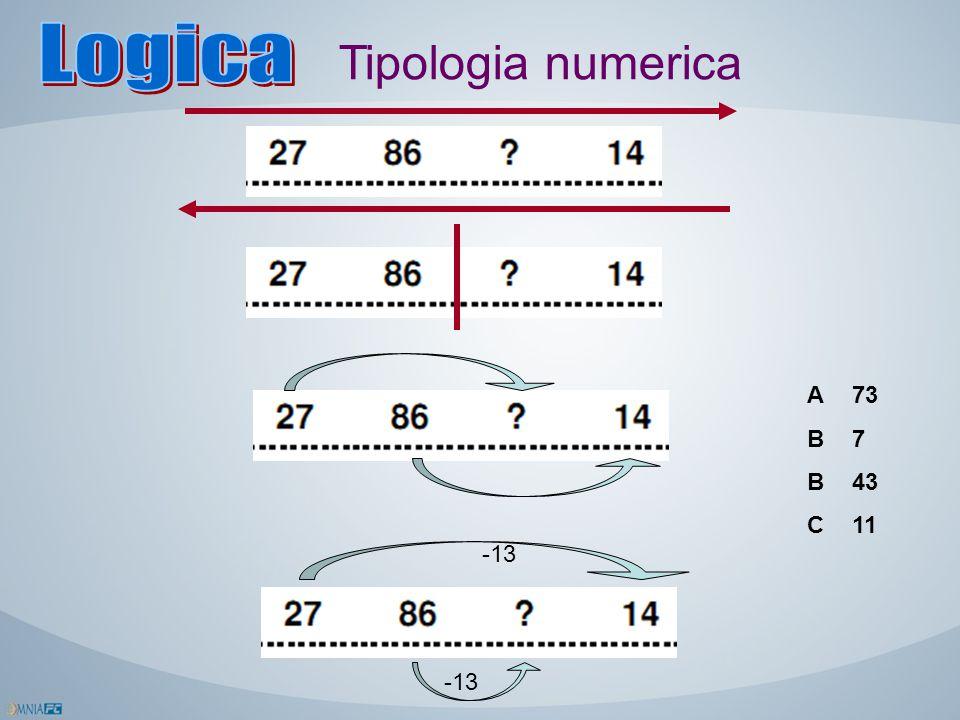 Tipologia numerica -13 73 7 43 11 ABBCABBC