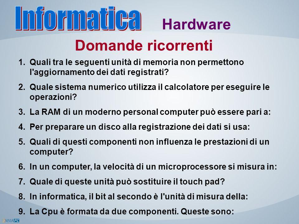 Hardware Domande ricorrenti 1.Quali tra le seguenti unità di memoria non permettono l'aggiornamento dei dati registrati? 2.Quale sistema numerico util