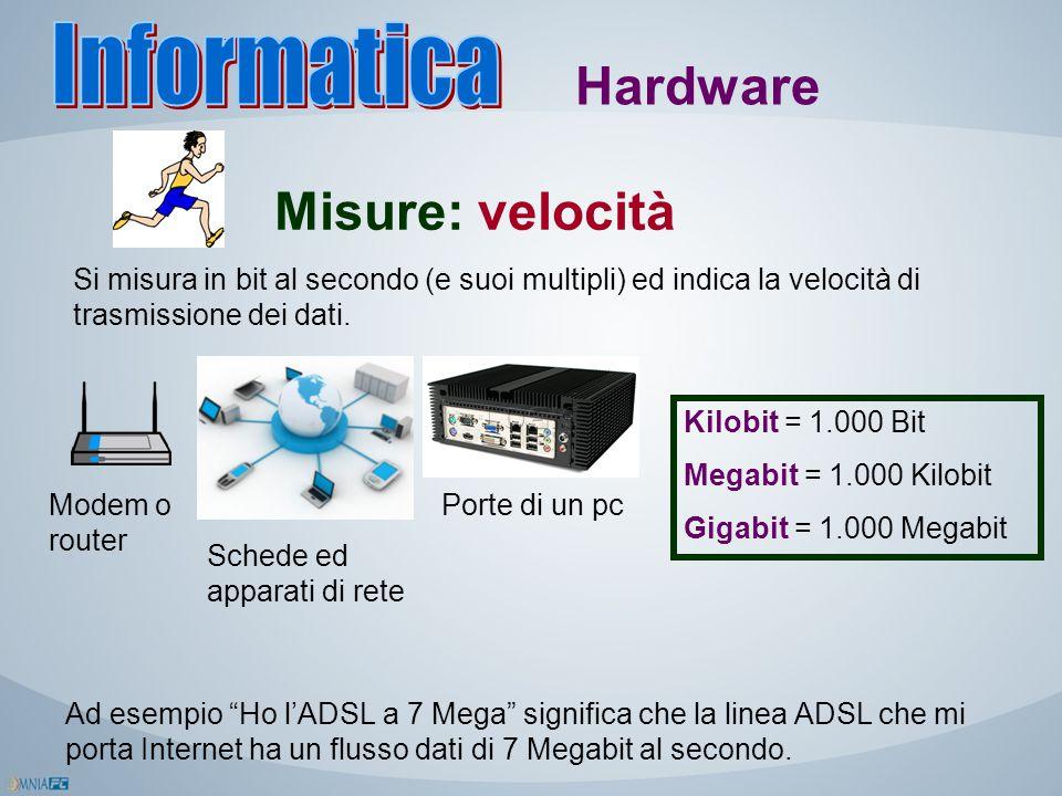 Misure: velocità Hardware Si misura in bit al secondo (e suoi multipli) ed indica la velocità di trasmissione dei dati. Modem o router Schede ed appar