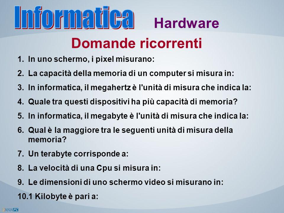Hardware Domande ricorrenti 1.In uno schermo, i pixel misurano: 2.La capacità della memoria di un computer si misura in: 3.In informatica, il megahert