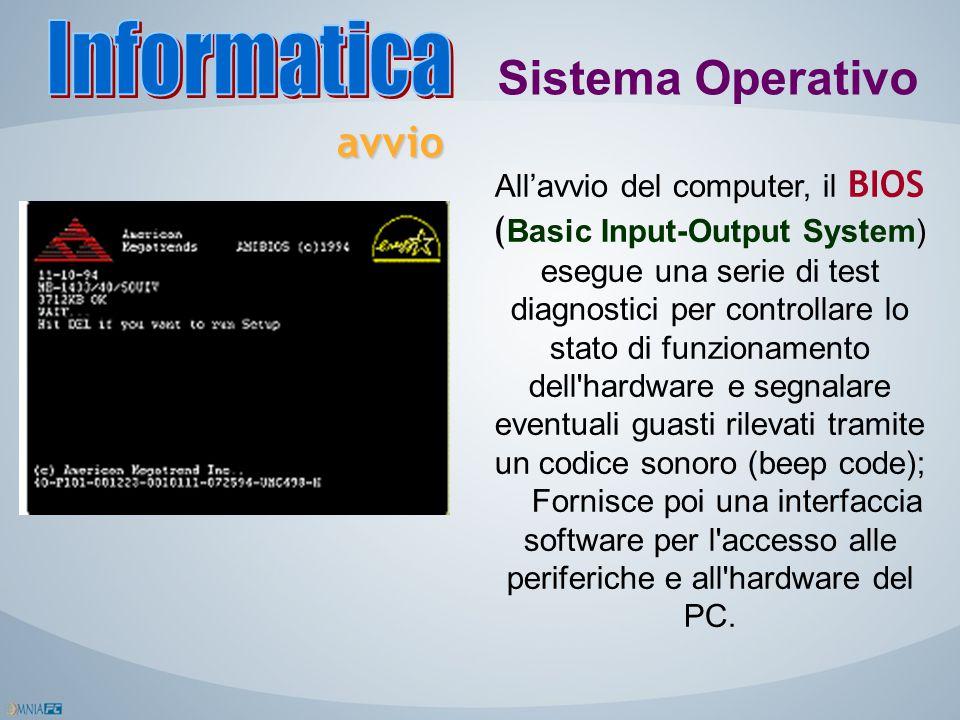 Sistema Operativo All'avvio del computer, il BIOS ( Basic Input-Output System) esegue una serie di test diagnostici per controllare lo stato di funzio