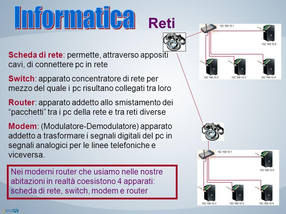 Reti Scheda di rete: permette, attraverso appositi cavi, di connettere pc in rete Switch: apparato concentratore di rete per mezzo del quale i pc risu