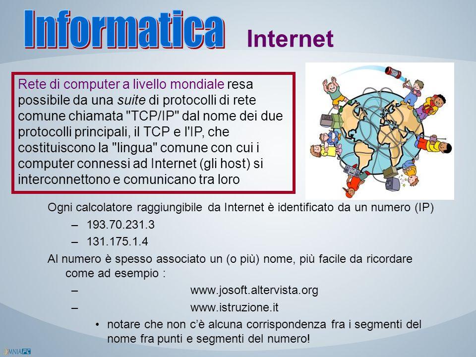 Internet Rete di computer a livello mondiale resa possibile da una suite di protocolli di rete comune chiamata