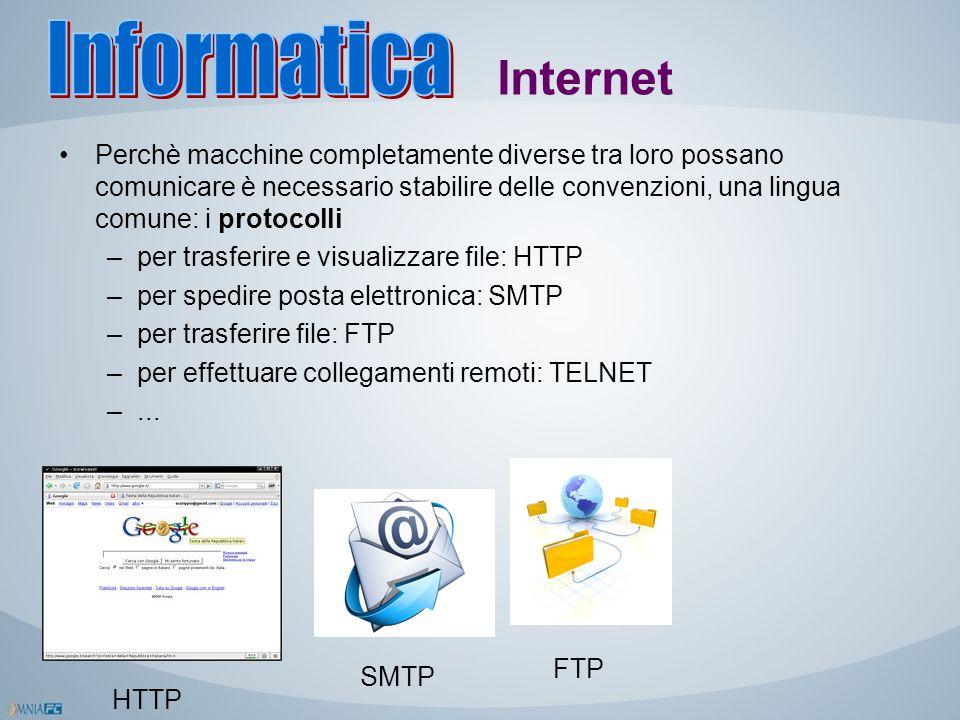 Internet Perchè macchine completamente diverse tra loro possano comunicare è necessario stabilire delle convenzioni, una lingua comune: i protocolli –