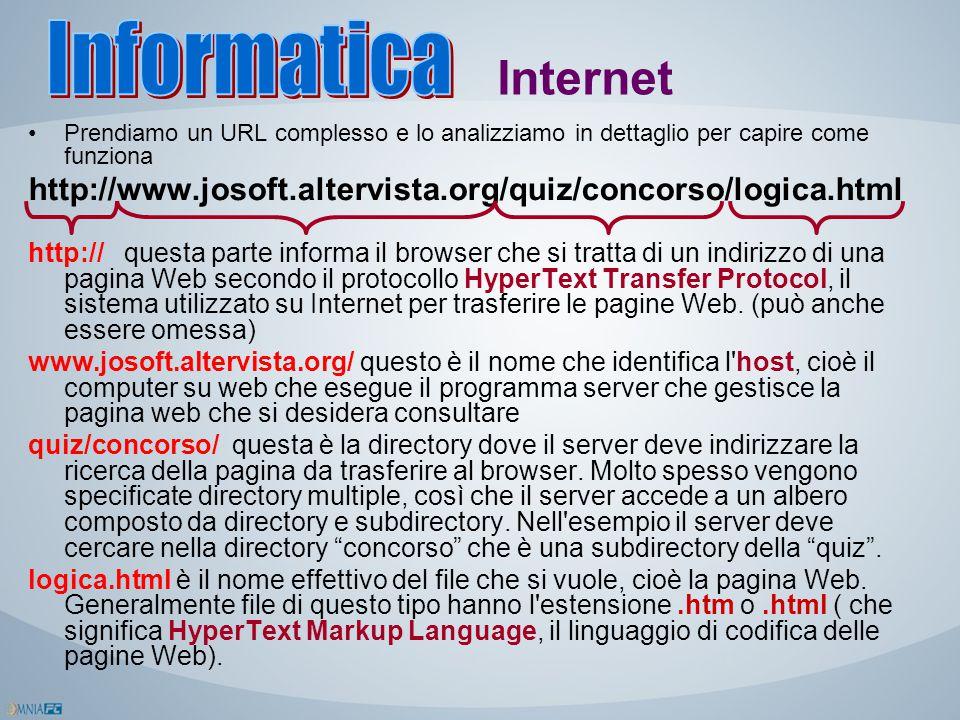 Internet Prendiamo un URL complesso e lo analizziamo in dettaglio per capire come funziona http://www.josoft.altervista.org/quiz/concorso/logica.html