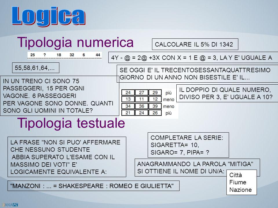 Tipologia numerica Tipologia testuale 4Y - @ = 2@ +3X CON X = 1 E @ = 3, LA Y E' UGUALE A SE OGGI E' IL TRECENTOSESSANTAQUATTRESIMO GIORNO DI UN ANNO