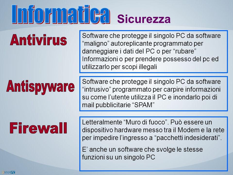"""Sicurezza Software che protegge il singolo PC da software """"maligno"""" autoreplicante programmato per danneggiare i dati del PC o per """"rubare"""" Informazio"""