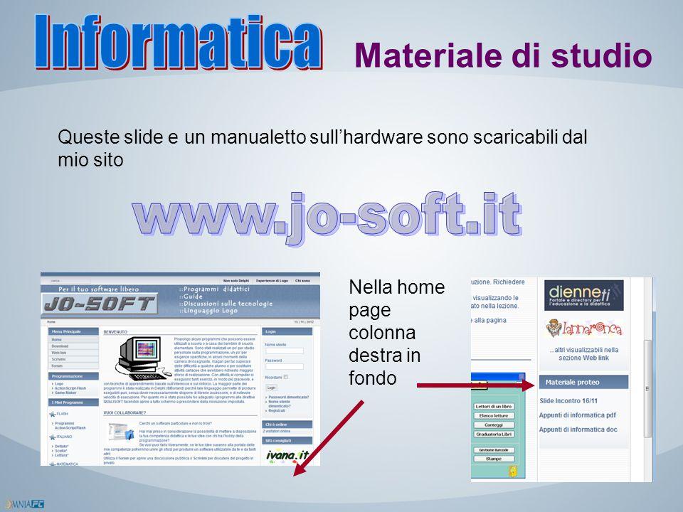 Materiale di studio Queste slide e un manualetto sull'hardware sono scaricabili dal mio sito Nella home page colonna destra in fondo
