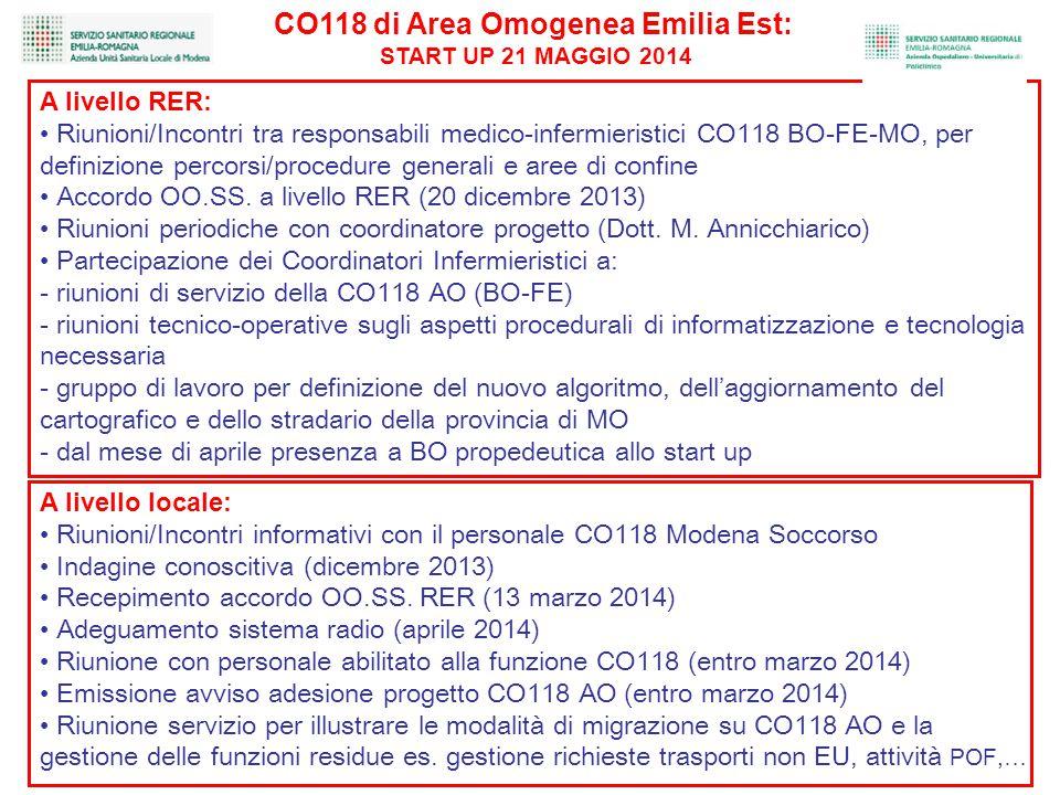 A livello RER: Riunioni/Incontri tra responsabili medico-infermieristici CO118 BO-FE-MO, per definizione percorsi/procedure generali e aree di confine Accordo OO.SS.