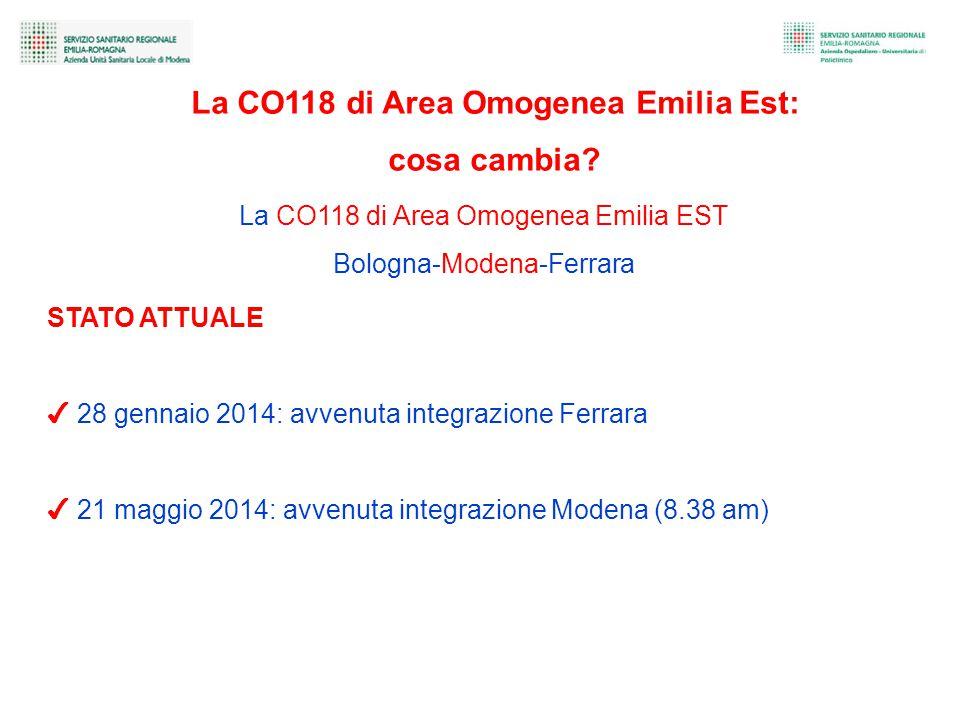 La CO118 di Area Omogenea Emilia EST Bologna-Modena-Ferrara STATO ATTUALE ✔ 28 gennaio 2014: avvenuta integrazione Ferrara ✔ 21 maggio 2014: avvenuta integrazione Modena (8.38 am) La CO118 di Area Omogenea Emilia Est: cosa cambia?