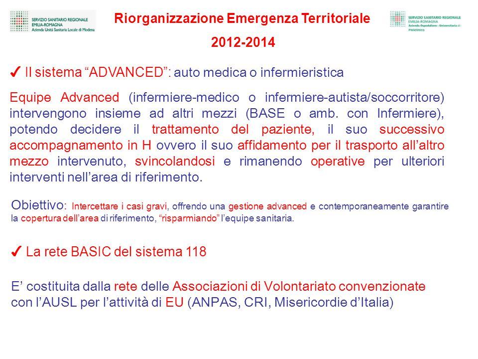 ✔ Il sistema ADVANCED : auto medica o infermieristica Equipe Advanced (infermiere-medico o infermiere-autista/soccorritore) intervengono insieme ad altri mezzi (BASE o amb.