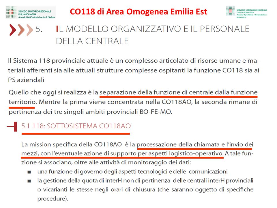 CO118 di Area Omogenea Emilia Est