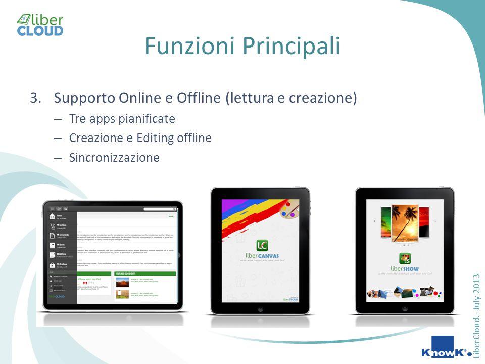 LiberCloud.- July 2013 Funzioni Principali 3.Supporto Online e Offline (lettura e creazione) – Tre apps pianificate – Creazione e Editing offline – Sincronizzazione