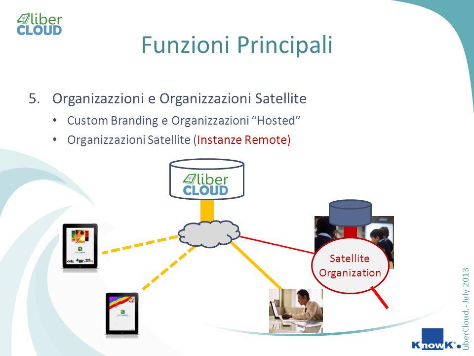 LiberCloud.- July 2013 Funzioni Principali 5.Organizazzioni e Organizzazioni Satellite Custom Branding e Organizzazioni Hosted Organizzazioni Satellite (Instanze Remote) Satellite Organization