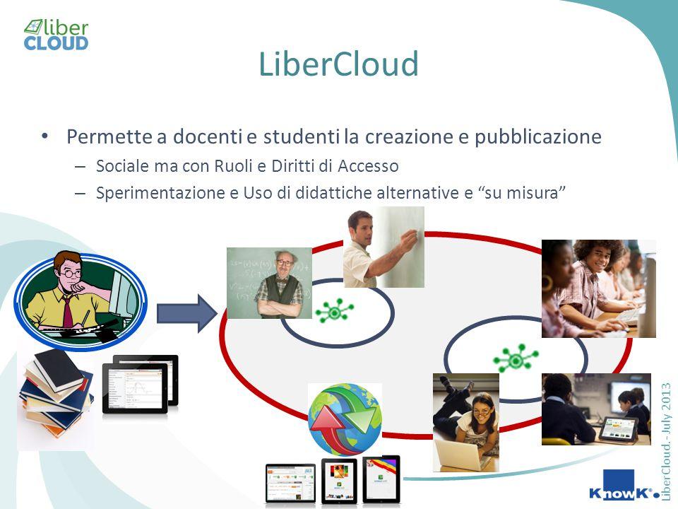 LiberCloud.- July 2013 LiberCloud Permette a docenti e studenti la creazione e pubblicazione – Sociale ma con Ruoli e Diritti di Accesso – Sperimentazione e Uso di didattiche alternative e su misura
