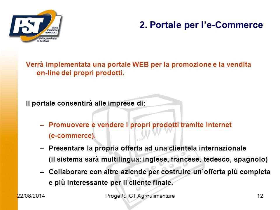 22/08/2014Progetto ICT Agroalimentare12 2. Portale per l'e-Commerce Verrà implementata una portale WEB per la promozione e la vendita on-line dei prop