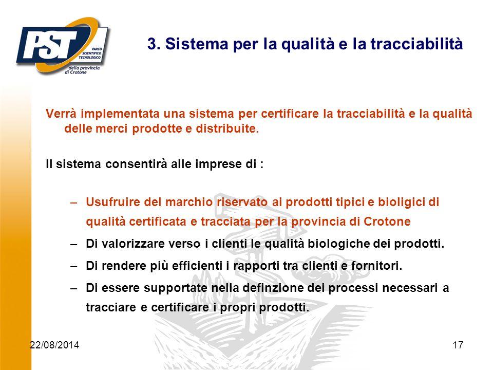 22/08/2014Progetto ICT Agroalimentare17 3. Sistema per la qualità e la tracciabilità Verrà implementata una sistema per certificare la tracciabilità e