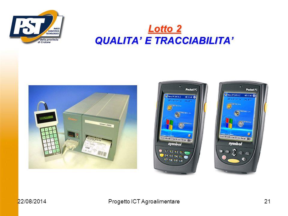 22/08/2014Progetto ICT Agroalimentare21 Lotto 2 QUALITA' E TRACCIABILITA' Lotto 2 QUALITA' E TRACCIABILITA' '