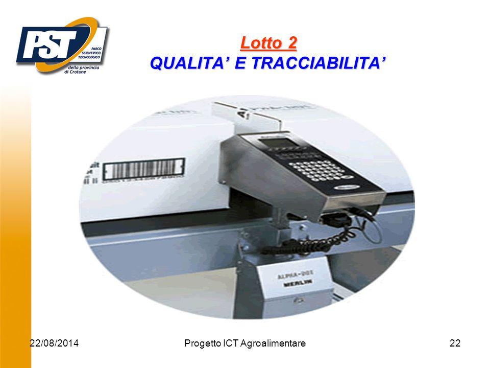22/08/2014Progetto ICT Agroalimentare22 Lotto 2 QUALITA' E TRACCIABILITA' Lotto 2 QUALITA' E TRACCIABILITA' '