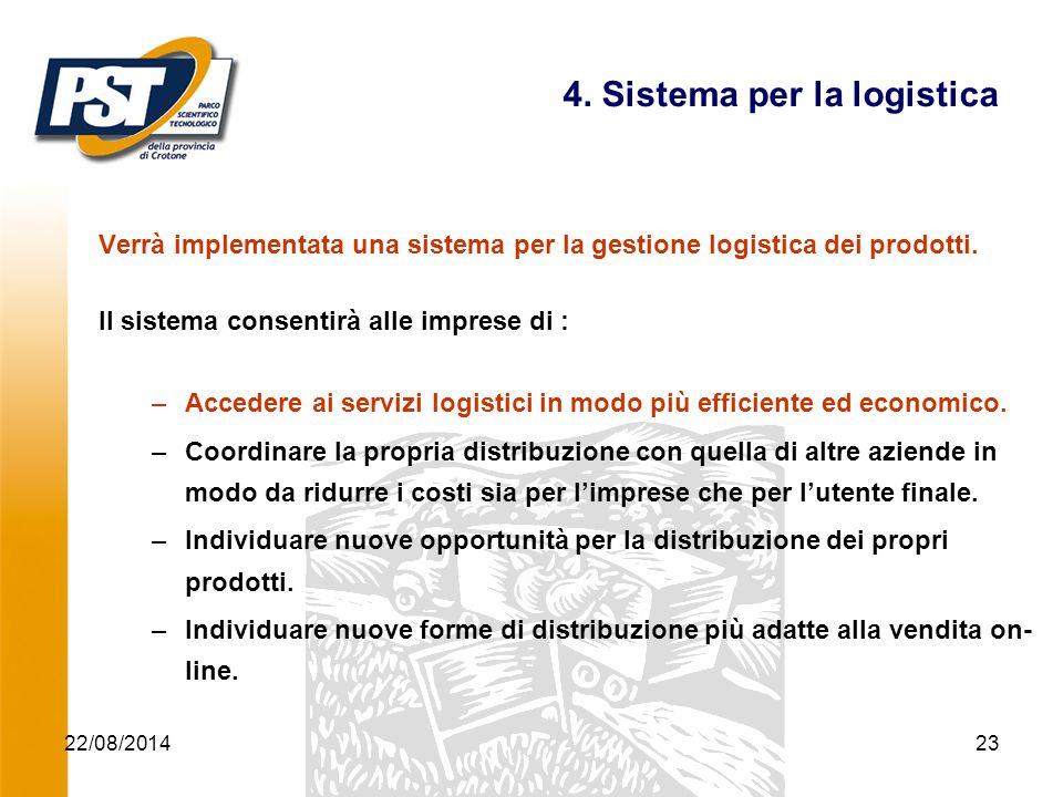 22/08/2014Progetto ICT Agroalimentare23 4. Sistema per la logistica Verrà implementata una sistema per la gestione logistica dei prodotti. Il sistema
