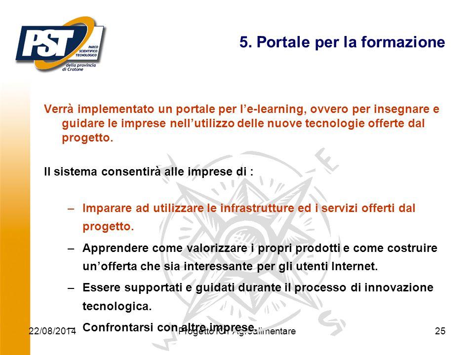 22/08/2014Progetto ICT Agroalimentare25 5. Portale per la formazione Verrà implementato un portale per l'e-learning, ovvero per insegnare e guidare le