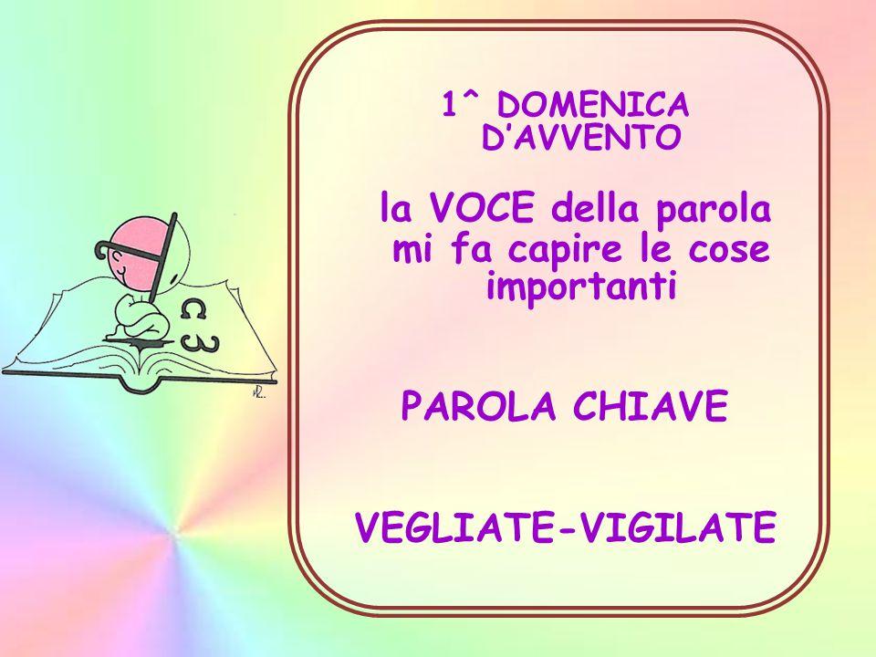 1^ DOMENICA D'AVVENTO la VOCE della parola mi fa capire le cose importanti PAROLA CHIAVE VEGLIATE-VIGILATE