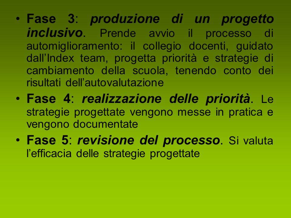 Fase 3: produzione di un progetto inclusivo. Prende avvio il processo di automiglioramento: il collegio docenti, guidato dall'Index team, progetta pri
