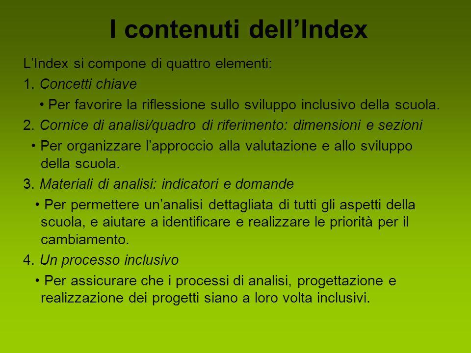 I contenuti dell'Index L'Index si compone di quattro elementi: 1. Concetti chiave Per favorire la riflessione sullo sviluppo inclusivo della scuola. 2