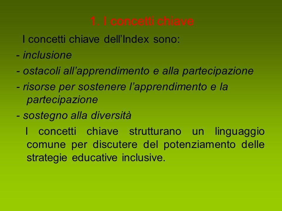 1. I concetti chiave I concetti chiave dell'Index sono: - inclusione - ostacoli all'apprendimento e alla partecipazione - risorse per sostenere l'appr