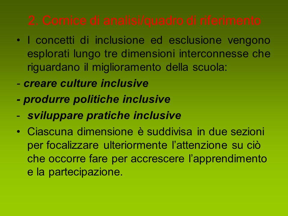 2. Cornice di analisi/quadro di riferimento I concetti di inclusione ed esclusione vengono esplorati lungo tre dimensioni interconnesse che riguardano