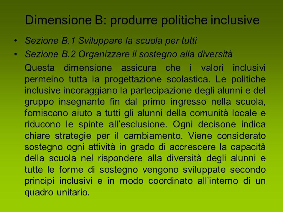 Dimensione B: produrre politiche inclusive Sezione B.1 Sviluppare la scuola per tutti Sezione B.2 Organizzare il sostegno alla diversità Questa dimens