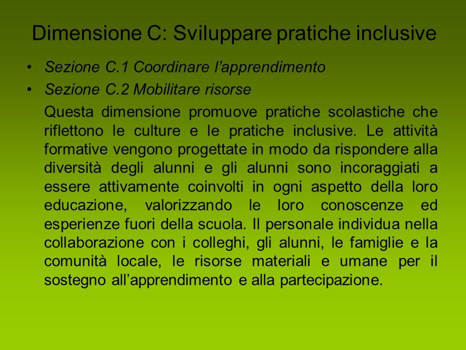Dimensione C: Sviluppare pratiche inclusive Sezione C.1 Coordinare l'apprendimento Sezione C.2 Mobilitare risorse Questa dimensione promuove pratiche
