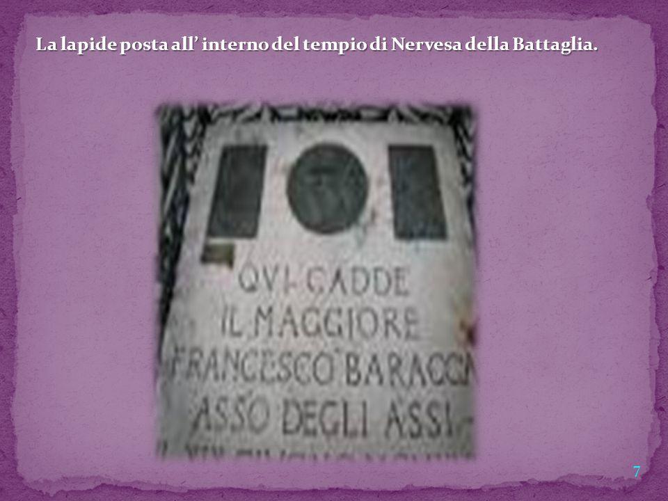 7 La lapide posta all' interno del tempio di Nervesa della Battaglia.