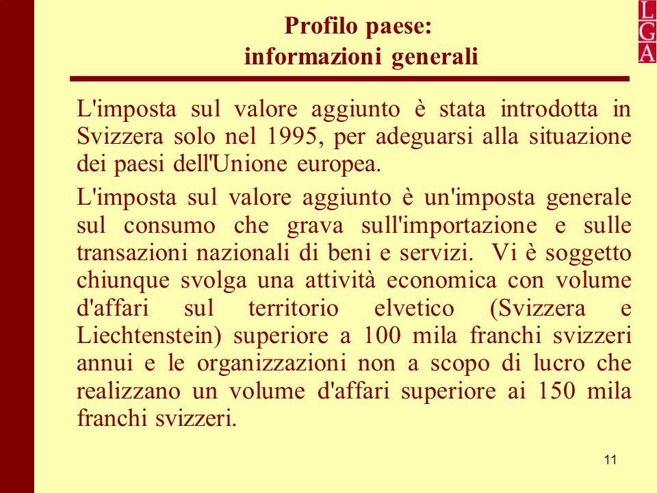 11 Profilo paese: informazioni generali L'imposta sul valore aggiunto è stata introdotta in Svizzera solo nel 1995, per adeguarsi alla situazione dei