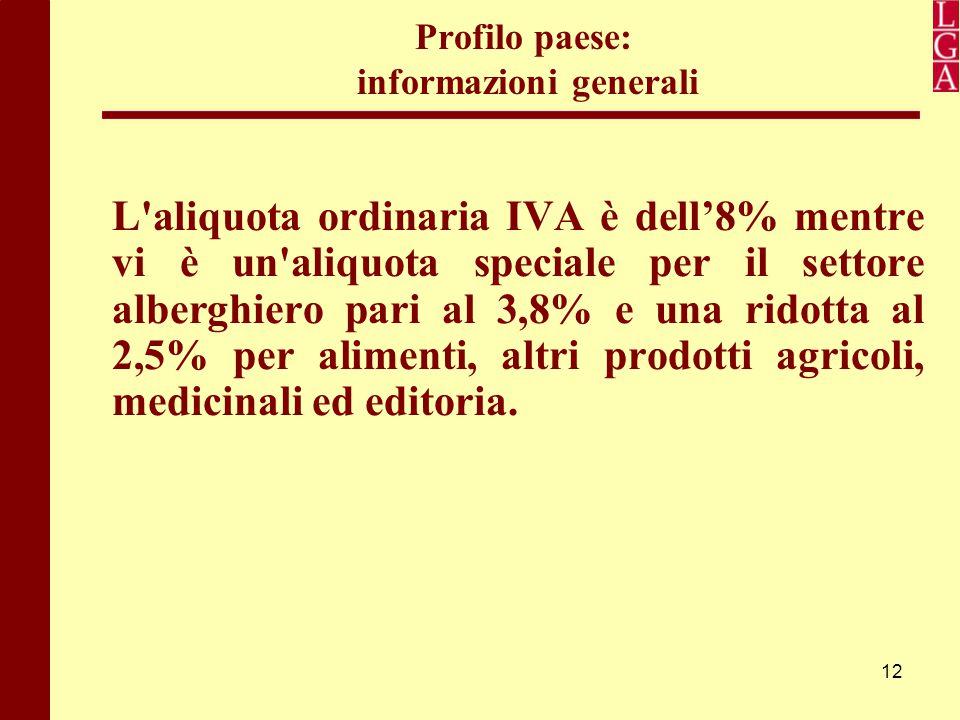 12 Profilo paese: informazioni generali L'aliquota ordinaria IVA è dell'8% mentre vi è un'aliquota speciale per il settore alberghiero pari al 3,8% e