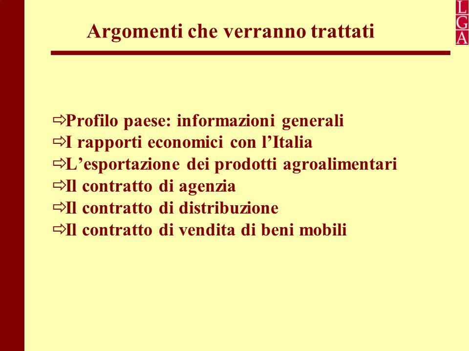 Argomenti che verranno trattati  Profilo paese: informazioni generali  I rapporti economici con l'Italia  L'esportazione dei prodotti agroalimentar