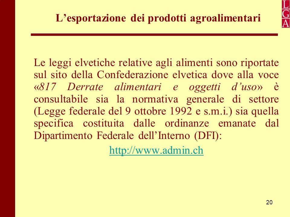 20 L'esportazione dei prodotti agroalimentari Le leggi elvetiche relative agli alimenti sono riportate sul sito della Confederazione elvetica dove all
