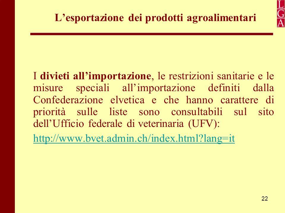 22 L'esportazione dei prodotti agroalimentari I divieti all'importazione, le restrizioni sanitarie e le misure speciali all'importazione definiti dall